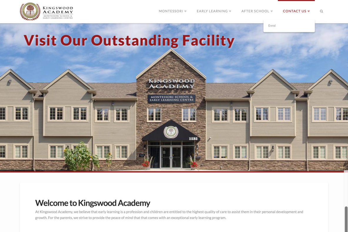 Website for Kingswood Academy Montessori School Early Learning Centre